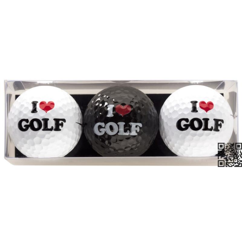 Tres bolas - motivo I Love Golf