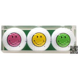 Pack de tres bolas de golf - motivo Smiley