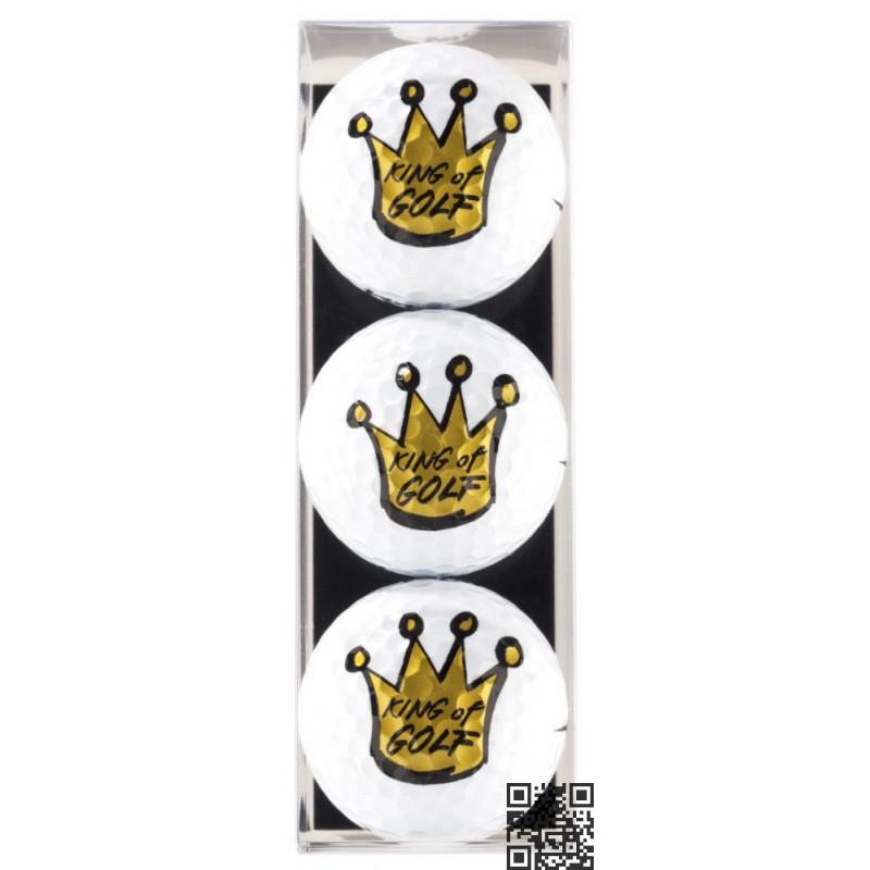 Pack de tres bolas de golf con motivo King of Golf